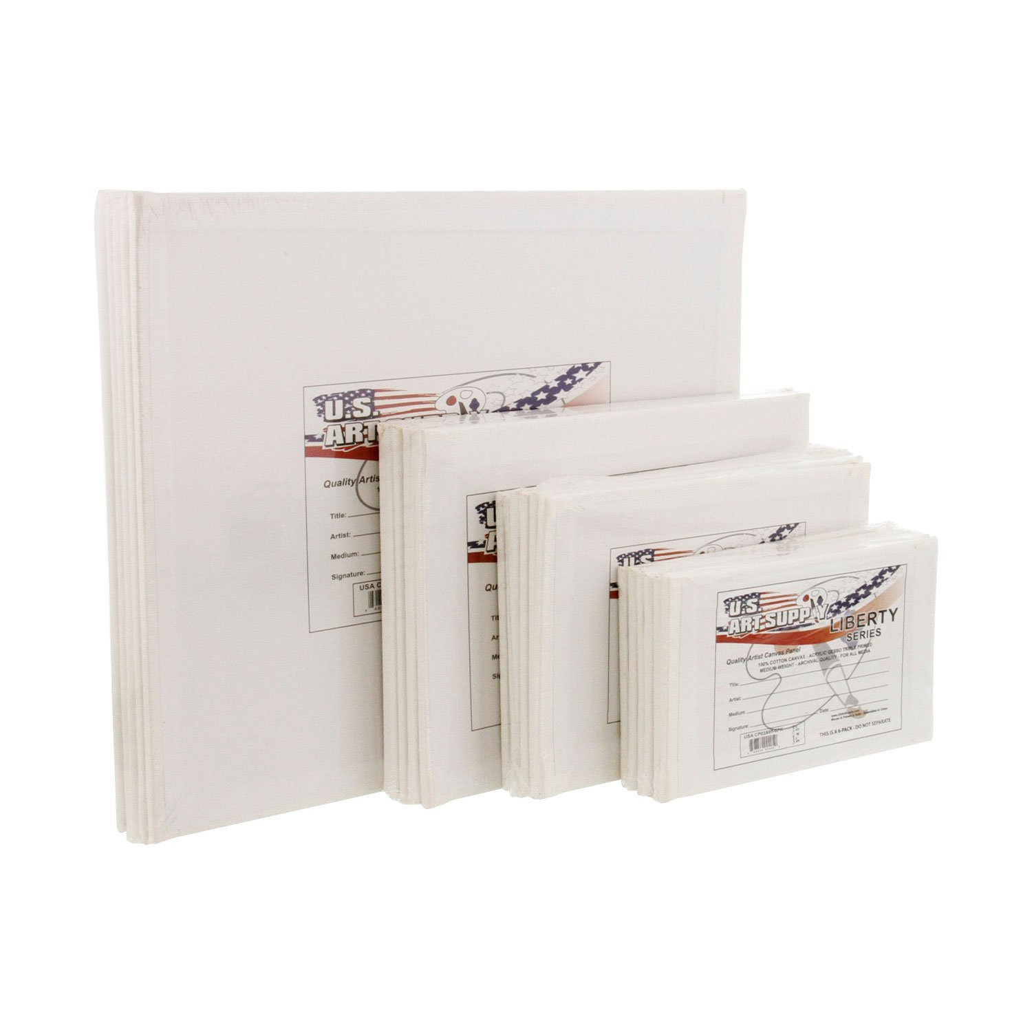US Art Supply Professional Quality Small Canvas Panel Assortment Pack 24 Panels