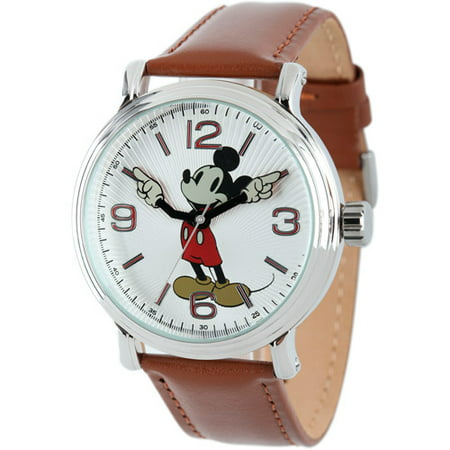 Mickey Mouse Men's Shinny Silver Vintage Articulating Alloy Case Watch, Brown Leather Strap