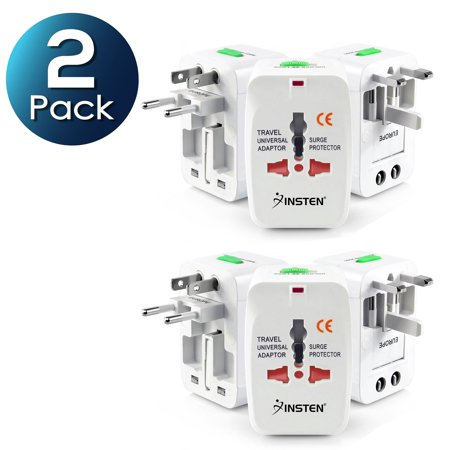 2 Pack World Wide International Travel Adapter Plugs by Insten, White Universal All-In-One (US UK EU