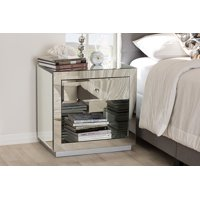 Baxton Studio Set of 2 Melanie Hollywood Regency Glamour Style Mirrored 1-Drawer 1-Shelf Nightstands
