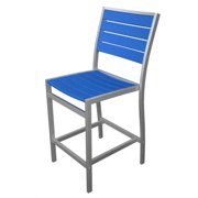 """41"""" Earth-Friendly Recycled Patio Counter Chair - Pacific Blue with Silver Frame"""