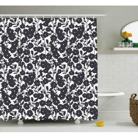 Floral Shower Curtain Dark Charcoal Black Gardening Flowers Leaves And Swirls Modern Art Print Image