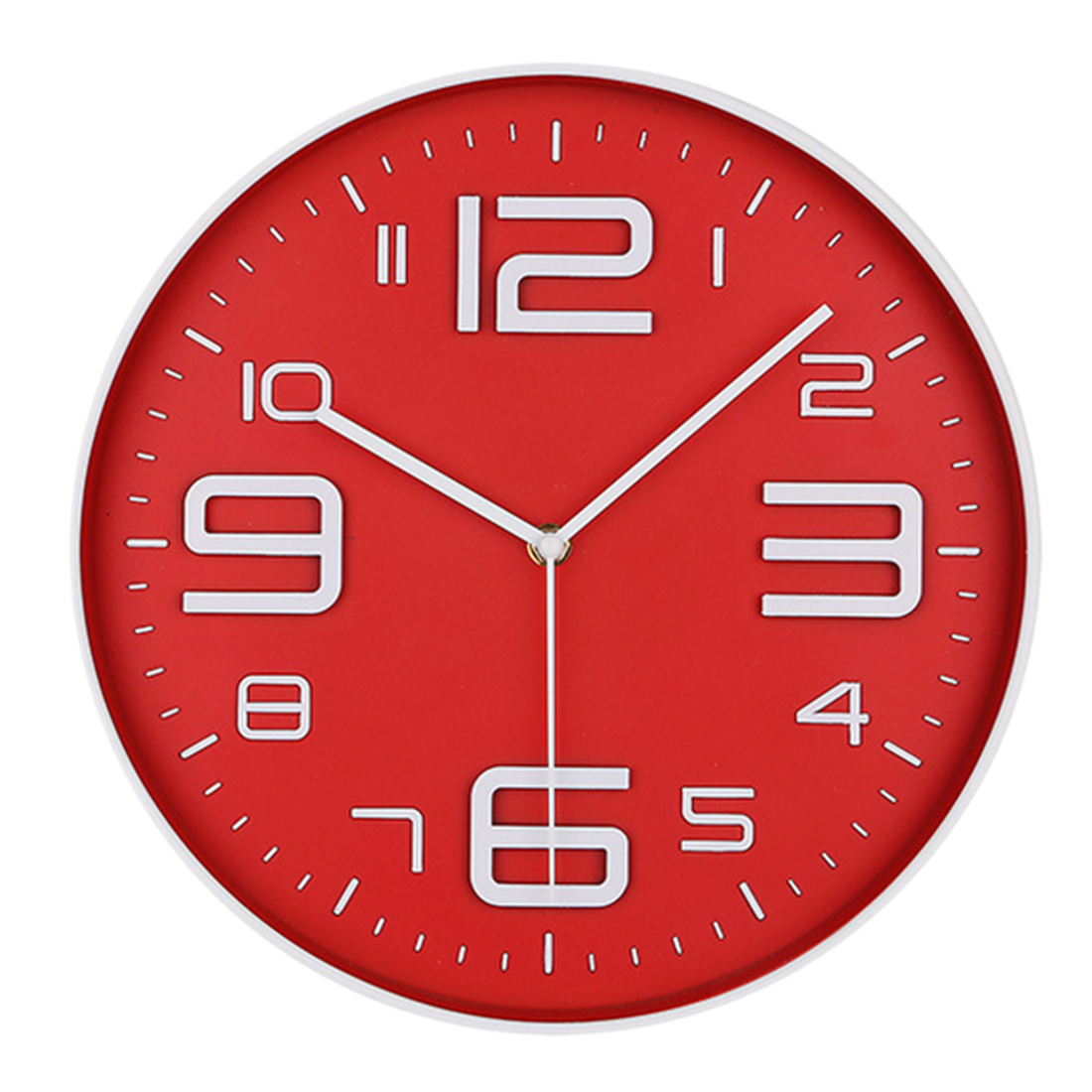 Simple Design Wall Clock Home Bedroom Cafe Decor Clock Red + White by