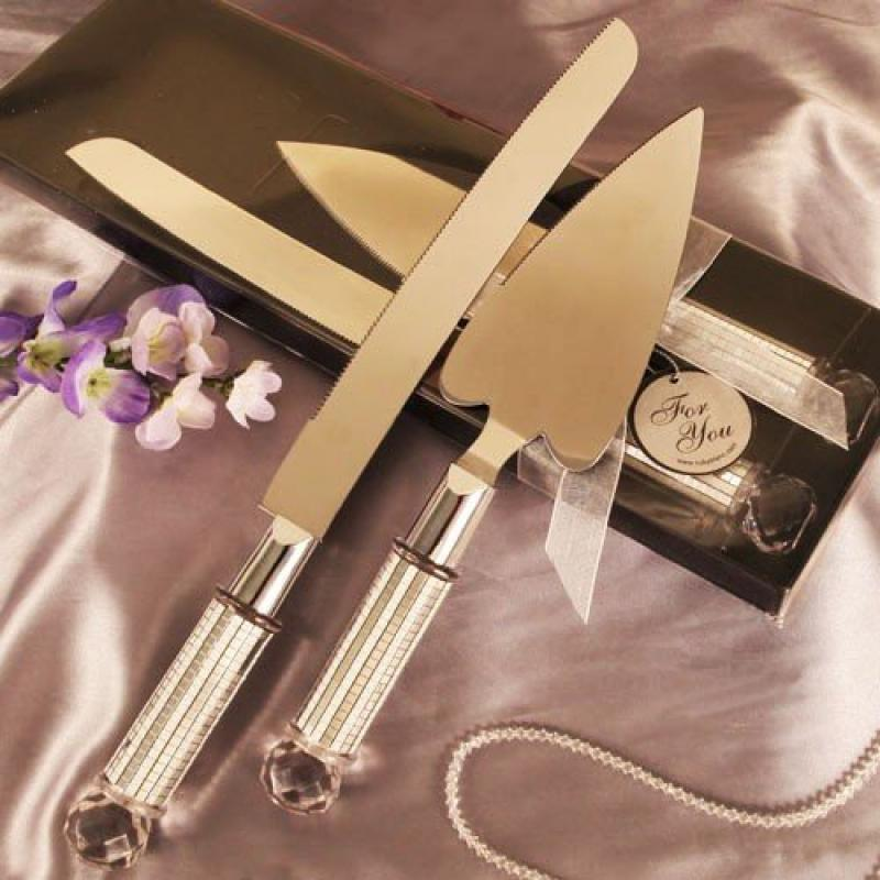 """""""Silver Dazzling Diamond"""" Heart Shaped Cake Server and Ca..."""