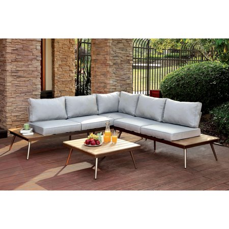 Furniture Of America Contemporary Patio Sectional Champagne