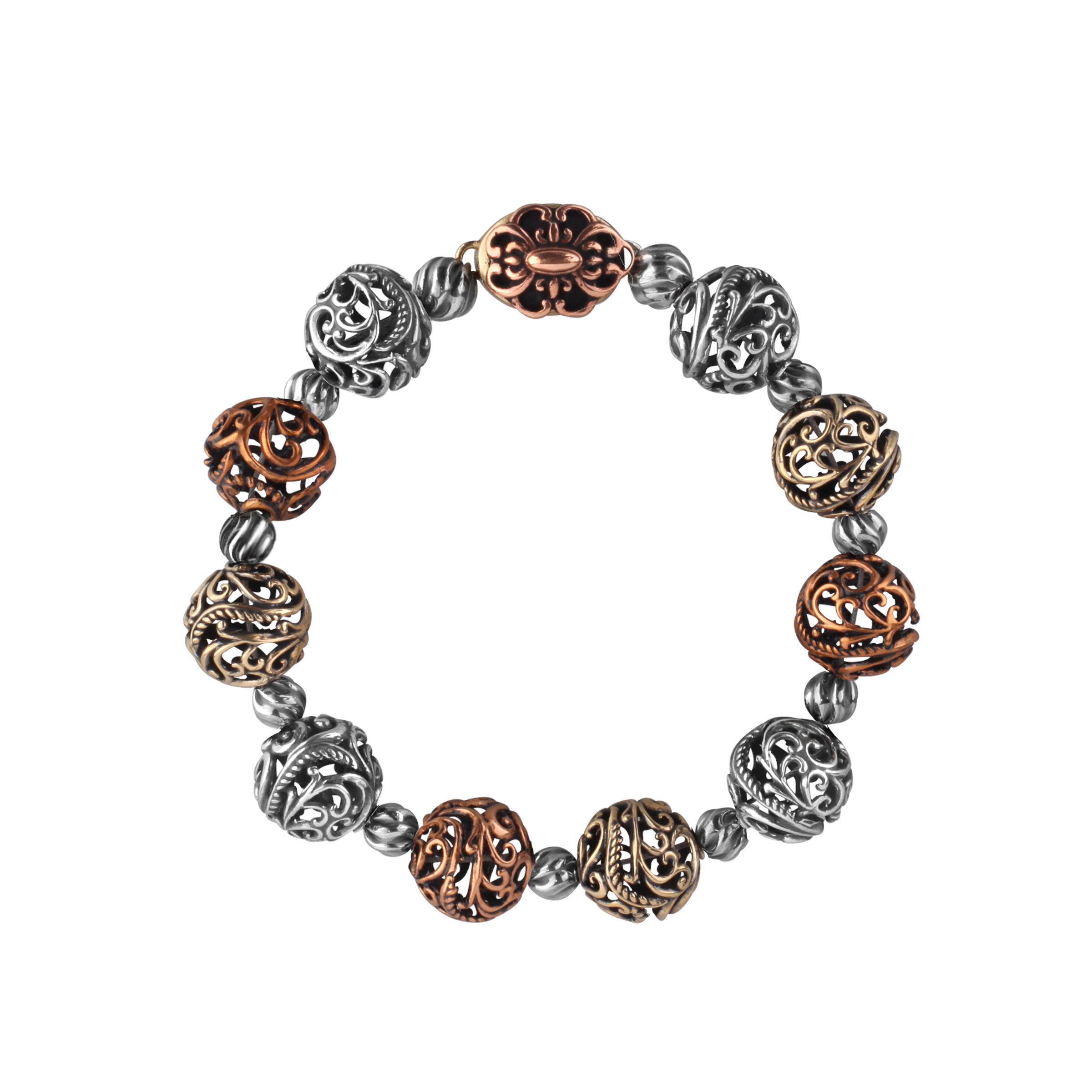 Carolyn Pollack Caged Bead Bracelet in Bronze, Brass & Sterling Silver
