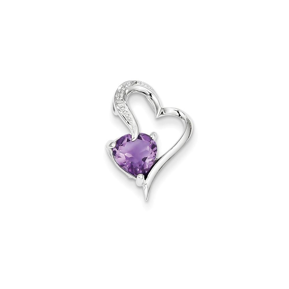 14k White Gold Prong Set Diamond and Amethyst Heart Pendant. Gem Wt- 0.8ct