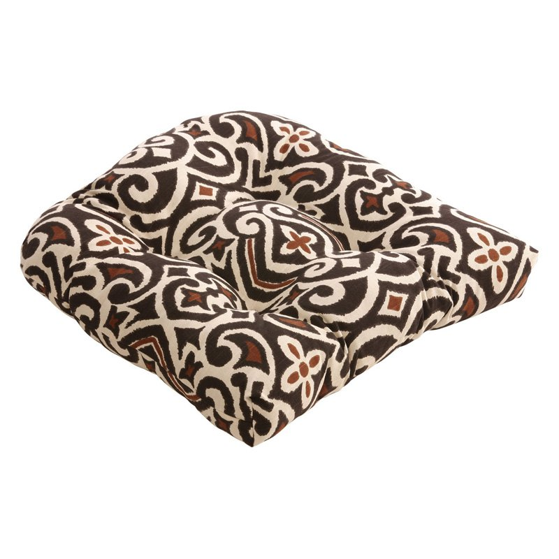 Pillow Perfect Damask Outdoor Chair Cushion