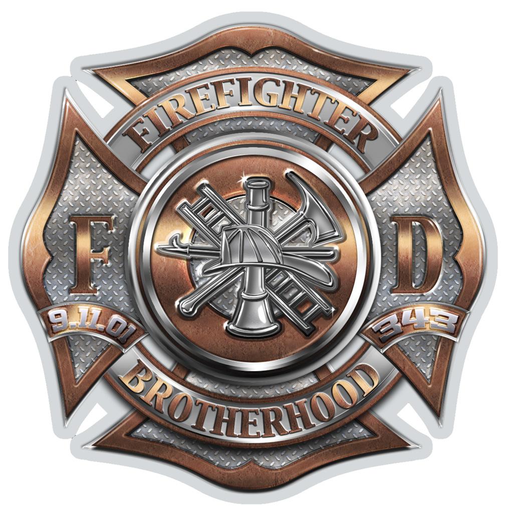 2Bhip SET OF 2 343 Firefighter Brotherhood 12 Inch Reflec...