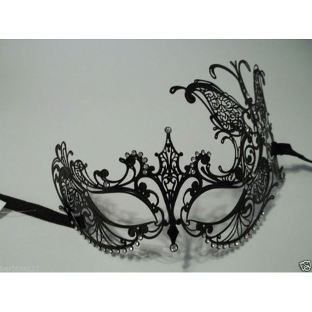 Black Crystal Butterfly Laser Cut Venetian Mask Masquerade Metal Filigree (Masquerade Butterfly Mask)
