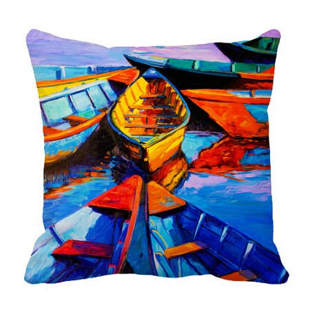 YKCG Modern Impressionism Oil Painting on Canvas Sea Boats Ships Pillowcase Pillow Cushion Case Cover Twin Sides 18x18 inches