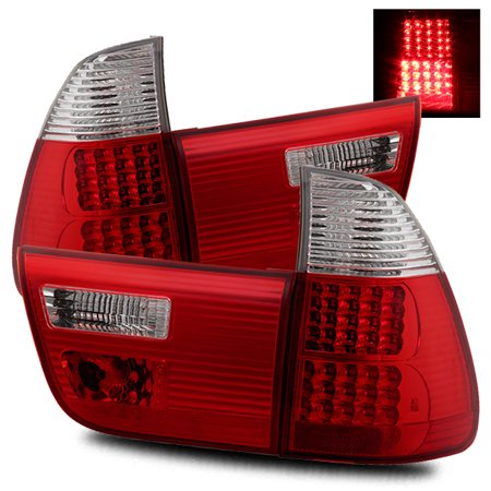 - For 00-06 BMW E53 X5 Red Clear Left/Right LED Tail Lights Rear Brake Lamps Replacement Assembly Set