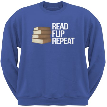 Read, Flip, Repeat Blue Adult Sweatshirt - Small