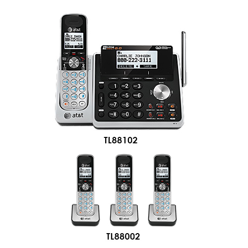 AT&T TL88102 + (3) TL88002 DECT 6.0 2-Line 4 Handset Phone System w/ Digital Answering System