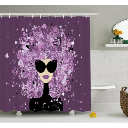 Girly Shower Curtain Fashion Woman Portrait Artistic Messy Hair With Hearts Falling Down Fabric