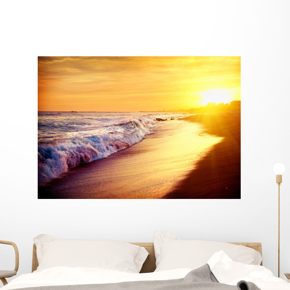 Beautiful Sea Sunset Beach Wall Decal By Wallmonkeys Peel And Stick