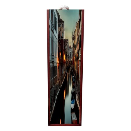 Venice Gondolas Wine Box Rosewood with Slide Top - Wine Box Holder - Wine Case Decoration - Wine Case Wood - Wine Box Carrier ()