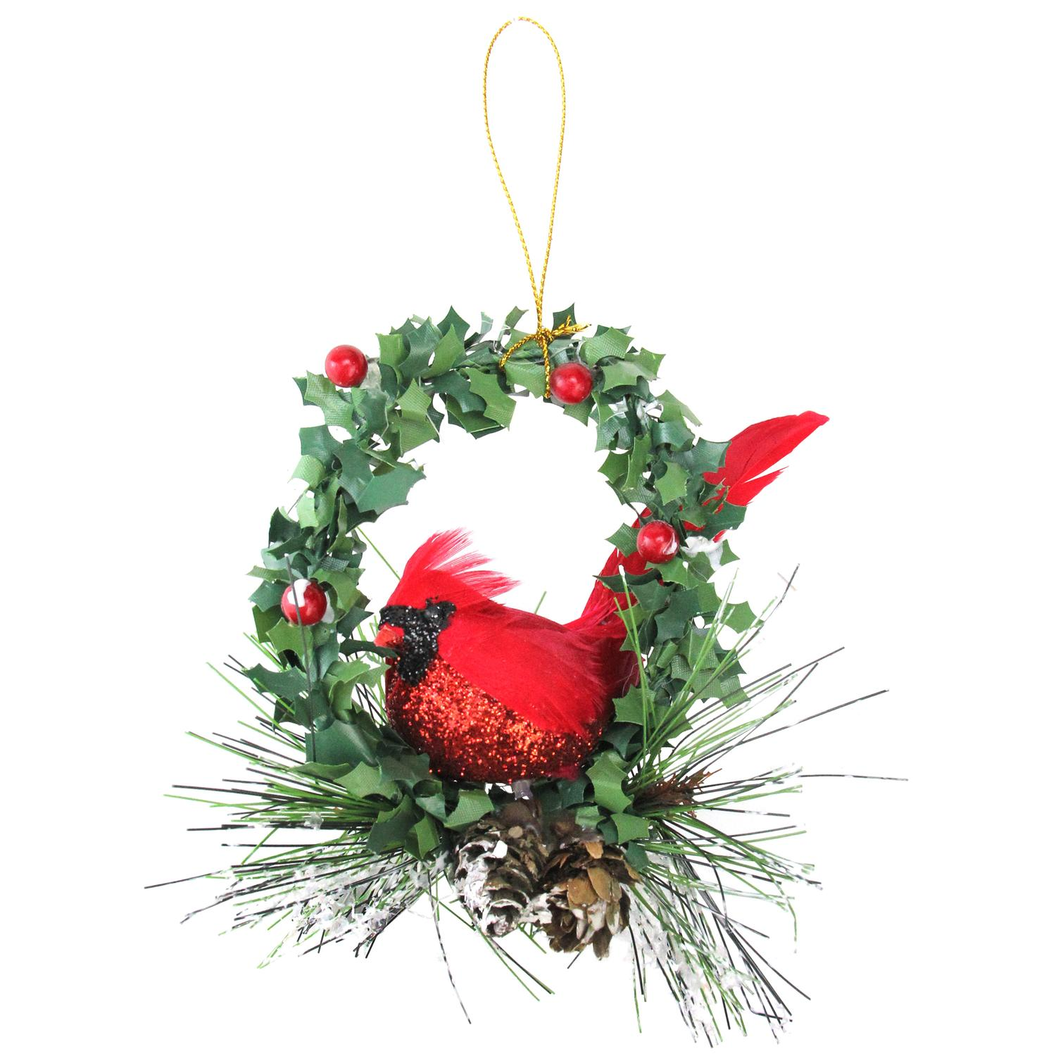 "5.25"" Red and Black Glittered Cardinal in a Holly Wreath Christmas Ornament"