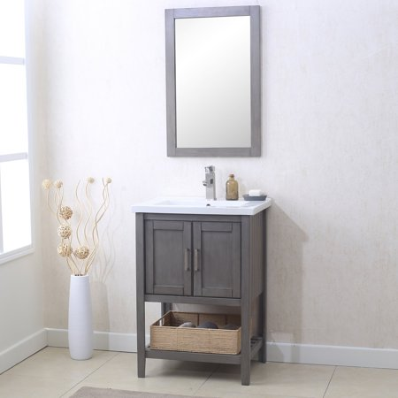 Legion WLF6021 Free Standing 24 in. Single Vanity with Mirror Faucet and Basket