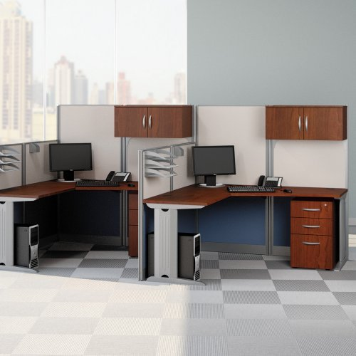 Bush Office-in-an-Hour L-Shaped Double Workstation Computer Desk with Storage