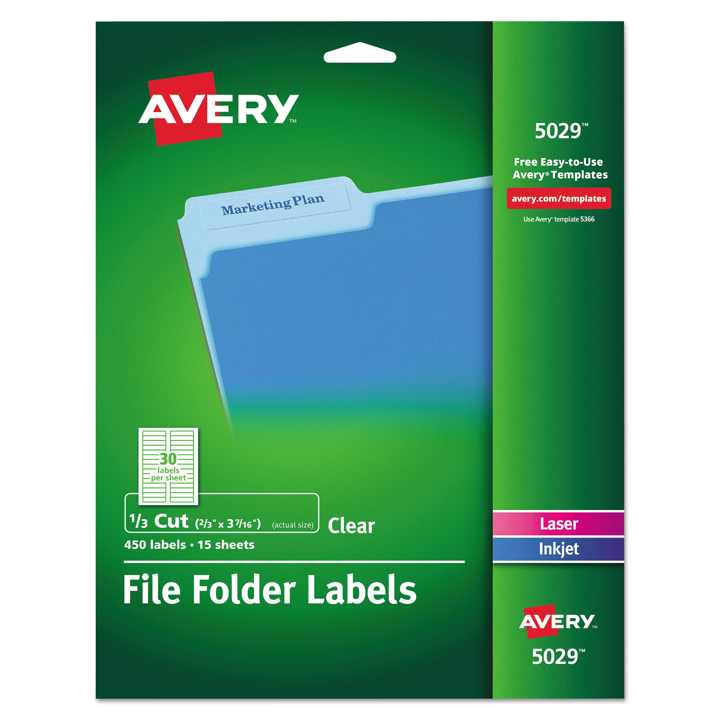 Avery Clear File Folder Labels, 1/3 Cut, 2/3 x 3 7/16, 450/Pack