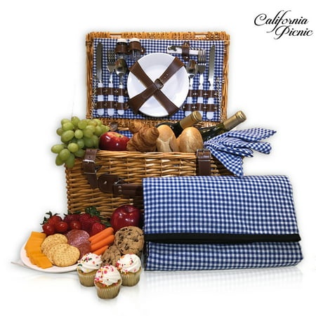Picnic Supplies (CALIFORNIA PICNIC Picnic Basket Set for 4 Person | Folding Picnic Blanket | Picnic Table Set | Picnic Plates | Picnic Supplies | Summer Picnic Kit | Picnic Utensils |)