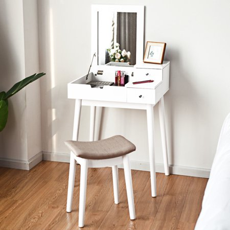 Costway Vanity Dressing Table Set Flip Mirror Desk Furniture Stool W/ 2 Drawer White
