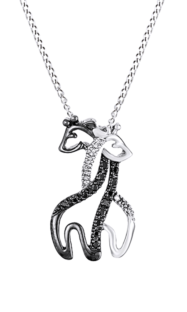 Black and White Natural Diamond Giraffe Pendant Necklace In 10k Rose Gold (0.09 Cttw) by Jewel Zone US