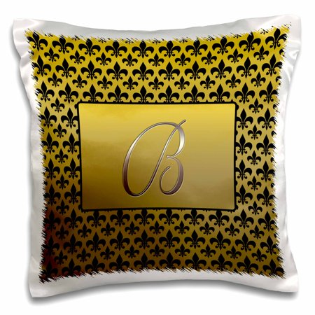 - 3dRose Elegant letter B embossed in gold frame over a black fleur-de-lis pattern on a gold background, Pillow Case, 16 by 16-inch