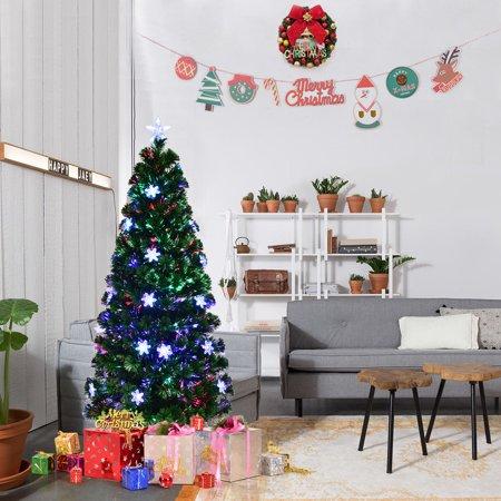Gymax Pre-lit Fiber Optic 4'Artificial Christmas Tree 18 LED Lights Snowflakes Star Decoration