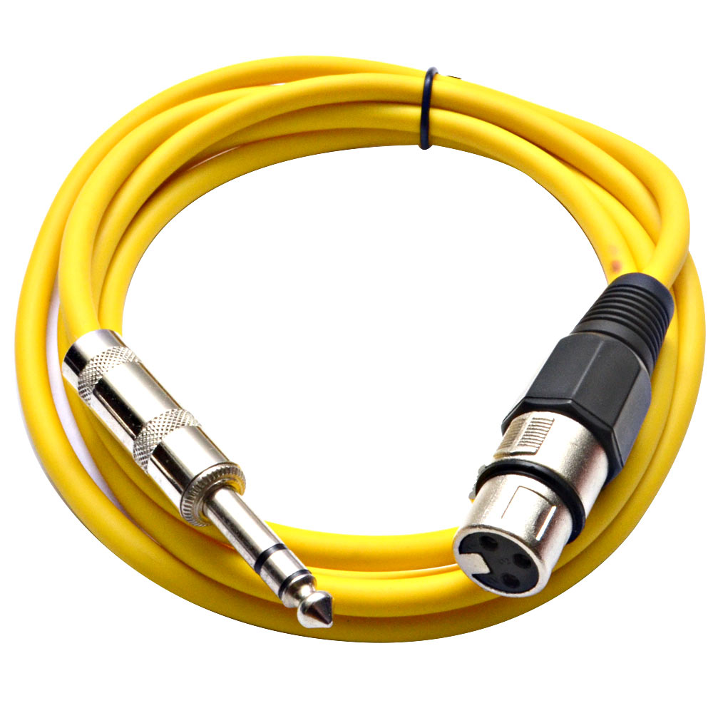 """Seismic Audio  Yellow 1/4"""" TRS XLR Female 6' Patch Cable Yellow - SATRXL-F6Yellow"""