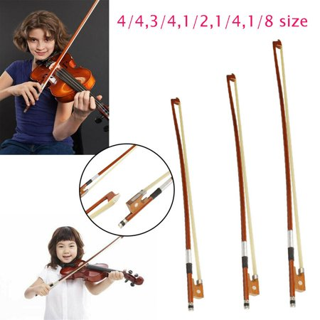 4/4 Size Student Violin Bow, Well Balanced Handmade Arbor Bow with Wood Stick Black ()