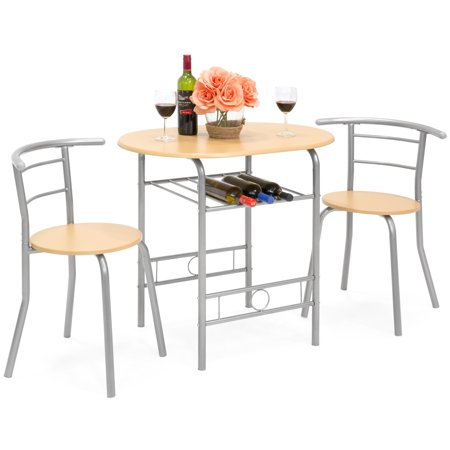 Best Choice Products 3-Piece Wooden Kitchen Dining Room Round Table and Chair Set with Built-In Wine Rack, Natural ()