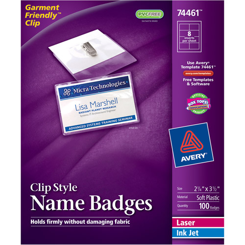 Avery Clip Style Name Badge Holders w/Laser/Inkjet Inserts, Top Load, 2-1/4 x 3-1/2, White, 100/Box