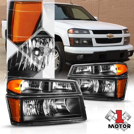 Black Housing Headlight Amber Signal Reflector For 04 12 Chevy Colorado Canyon 05 06 07 08 09 10 11