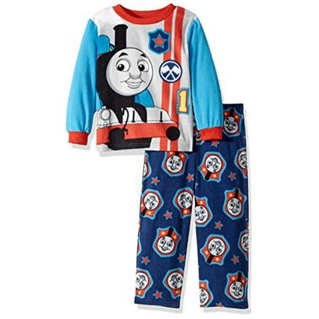 Thomas the Train Toddler Boys' 2-Piece Fleece Pajama Set, Cool Engine Blue, 4T (Cool Boys Pajamas)
