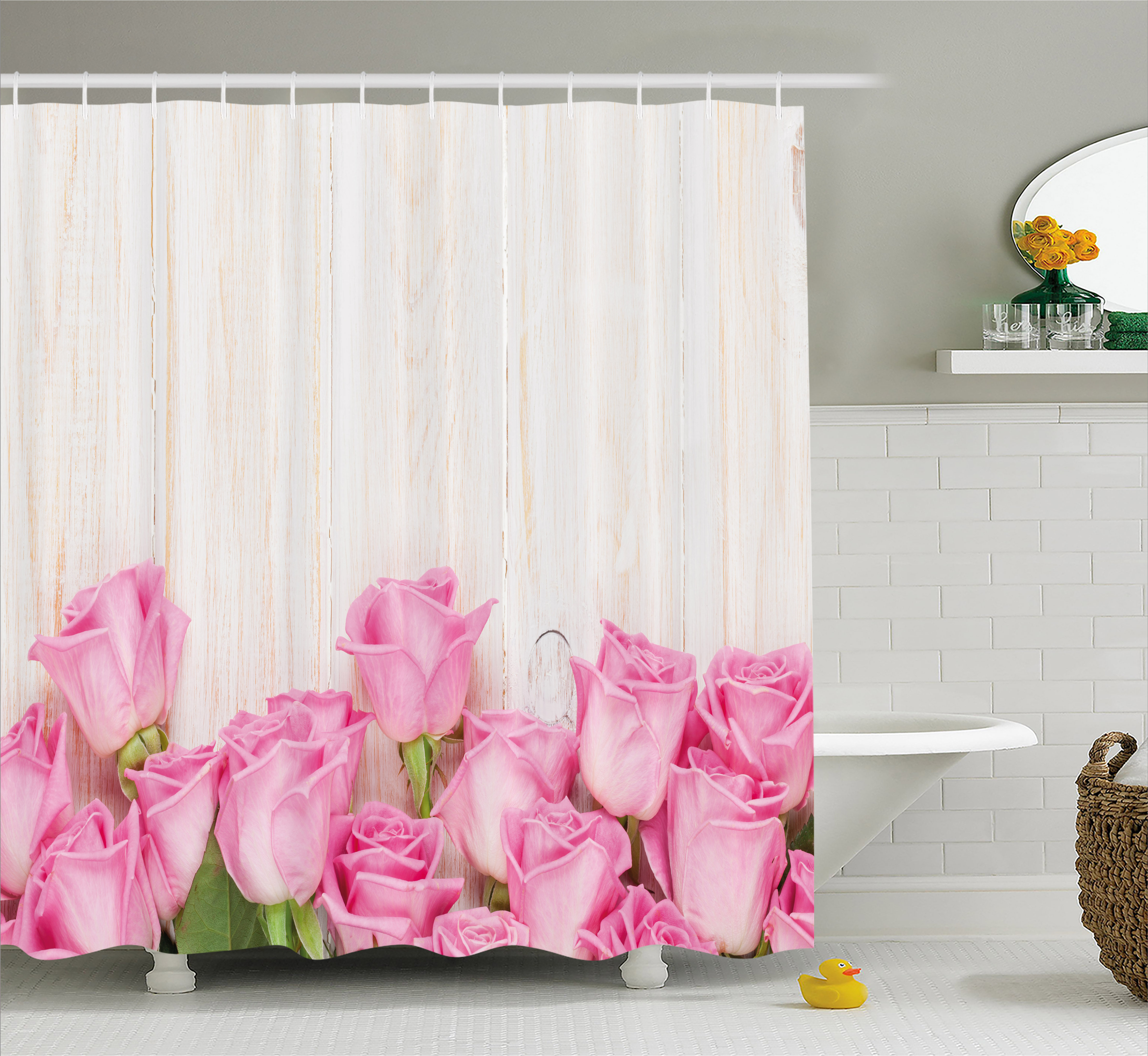 Rose Shower Curtain, Valentine's Day Celebration Inspired Composition Flowers on Wood Planks Print, Fabric Bathroom Set with Hooks, 69W X 84L Inches Extra Long, Pink Green Cream, by Ambesonne