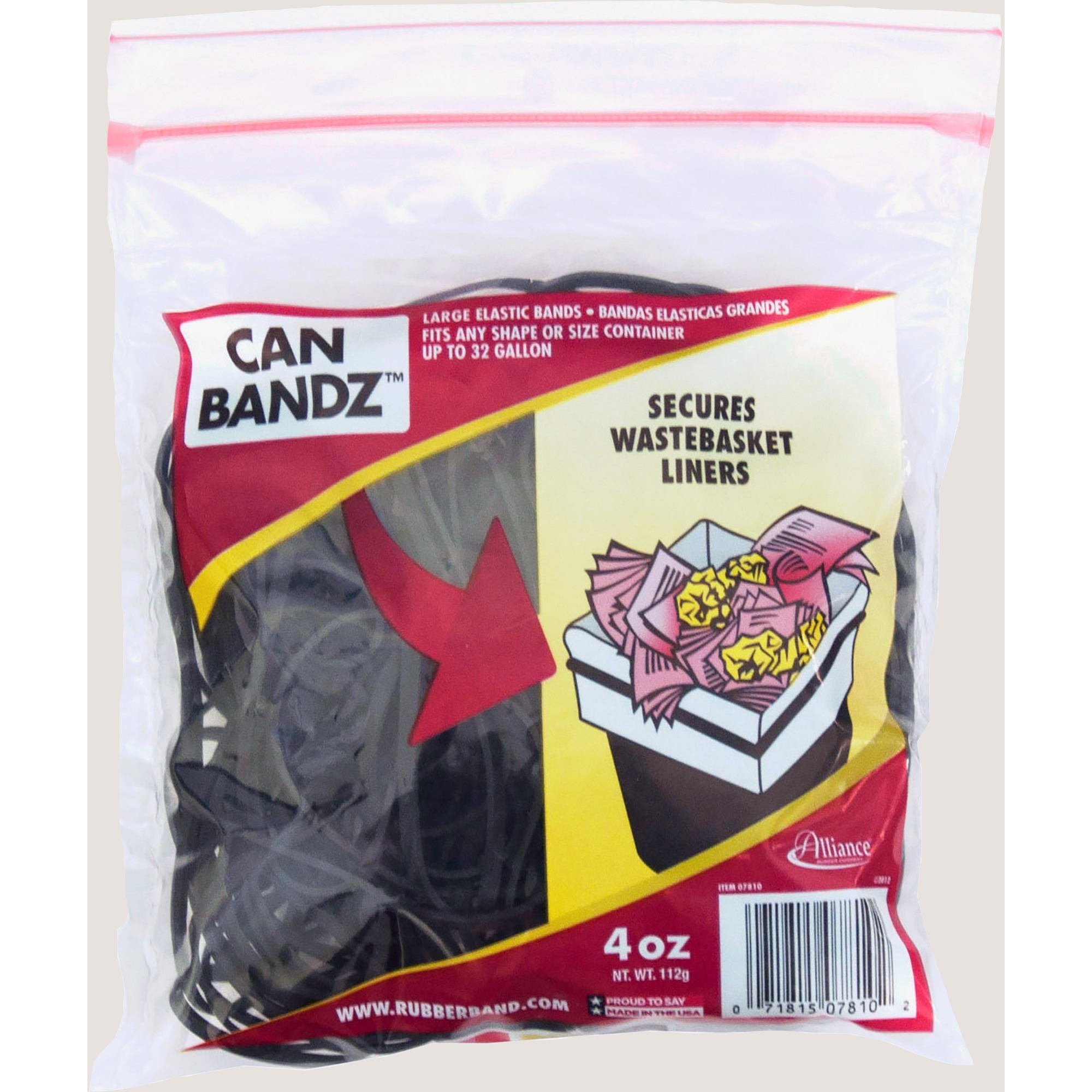 Alliance, Can Bandz #117B (7 x 1/8), Black 4oz. Zipper Bag