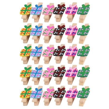 Store Wooden Gift Box Shape DIY Crafts Card Photo Clothespin Peg Clip 30pcs (Clothespin Ornaments)