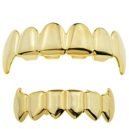 14K Gold Plated Grillz Set Full Fangs Upper Top And Bottom Lower Vampire Teeth Fangs Hip Hop Grills - Teeth Fangs