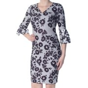 DKNY Womens Black Zippered Geometric Floral 3/4 Sleeve V Neck Knee Length Body Con Cocktail Dress  Size: 10