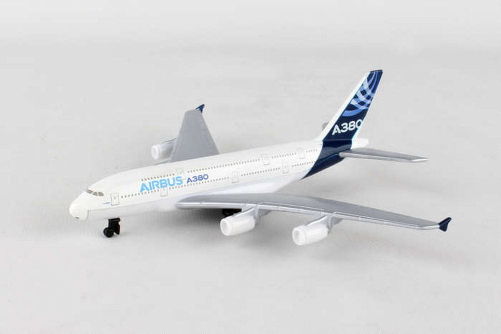 Airbus A380 Single Plane, White Daron RT0380 Diecast Model Airplane Replica by Showcasts