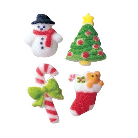 Merry Minatures Assortment Christmas Sugar Decorations Toppers Party Favors Cookie Cupcake Cake 12 Count