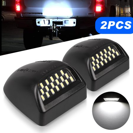TSV License Plate Lights Lamp Lens Black Housing Compatible with 1999 after Silverado Sierra Avalanche Suburban Escalade Yukon Chevy GMC Cadillac Step Bumper Truck Clips Aftermarket, Pack of 2