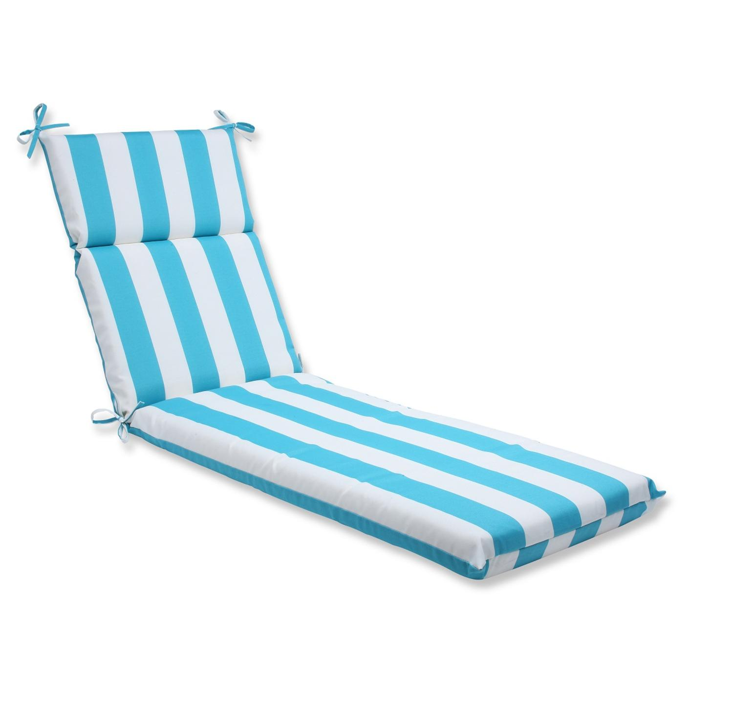 "72.5"" Fresh Cabana Stripe Outdoor Patio Chaise Lounge Cushion"