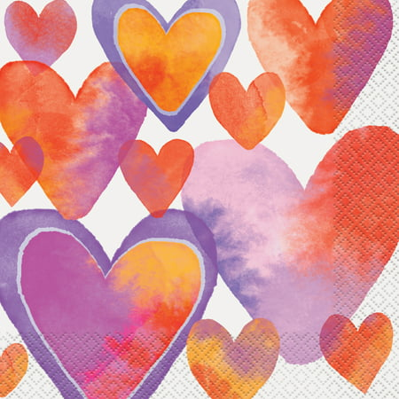 Watercolor Hearts Valentine's Day Paper Luncheon Napkins, 6.5 in, 16ct