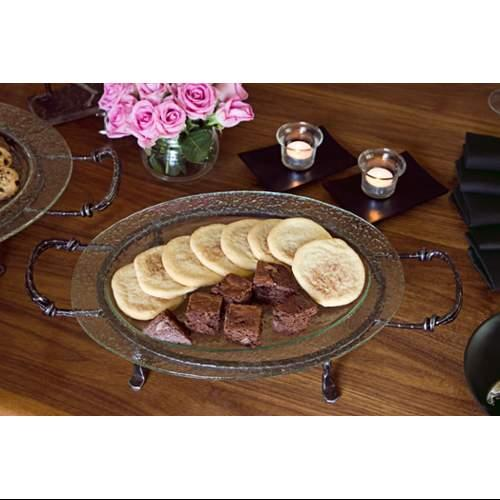 Danya B Medium Oval Glass Plate on Iron Stand