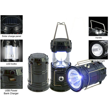 Solar Rechargeable Tac Light Lantern 3-in-1 Bright Collapsible LED Tactical Lantern, Flashlight, And USB Charging Station (Black)