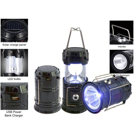 Solar Rechargeable Tac Light Lantern 3-in-1 Bright Collapsible LED Tactical Lantern, Flashlight, And USB Charging Station