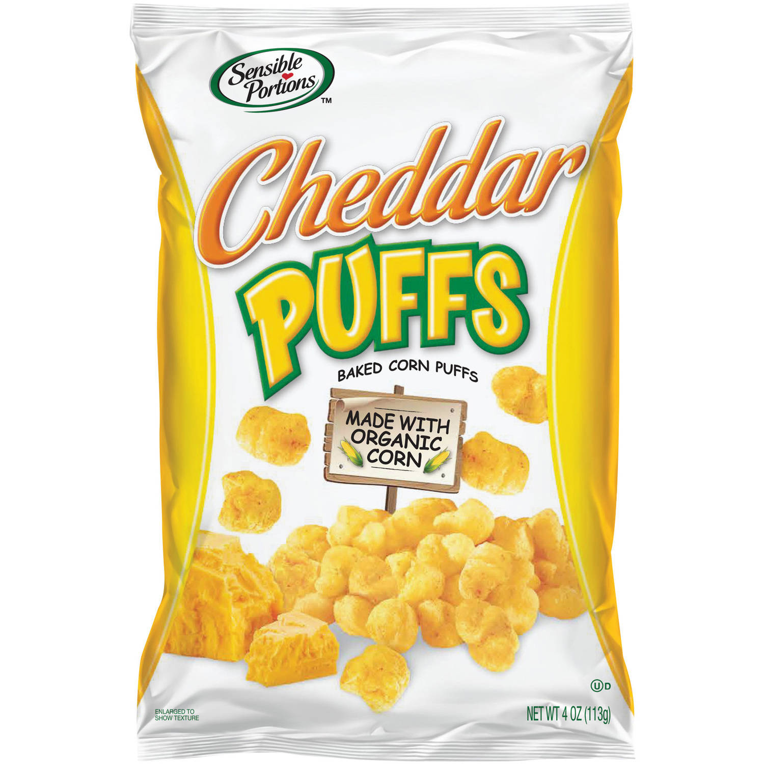 Sensible Portions Cheddar Puffs Baked Corn Puffs, 4 oz